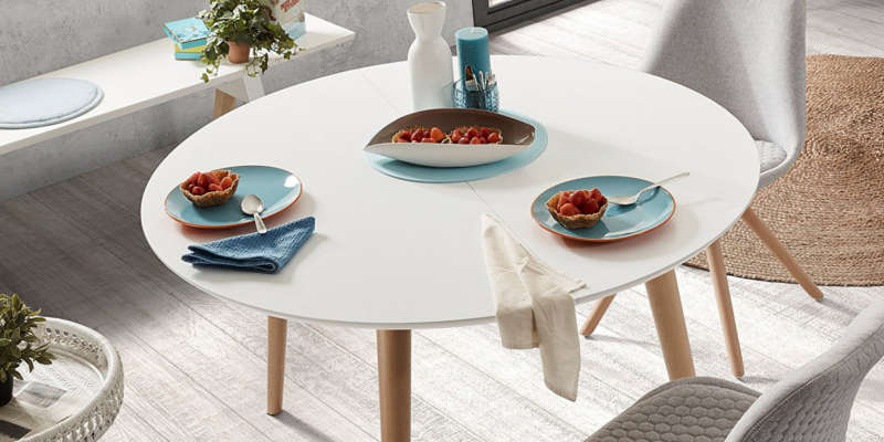 Mesa redonda extensible blanca kave home - Comoda mesa extensible ...