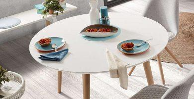 La mesa redonda extensible blanca Kave Home es muy práctica barata baratas comprar oferta ofertas precio precios
