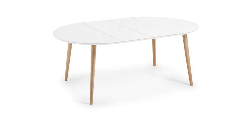Mesa redonda extensible blanca kave home - Mesa consola extensible conforama ...